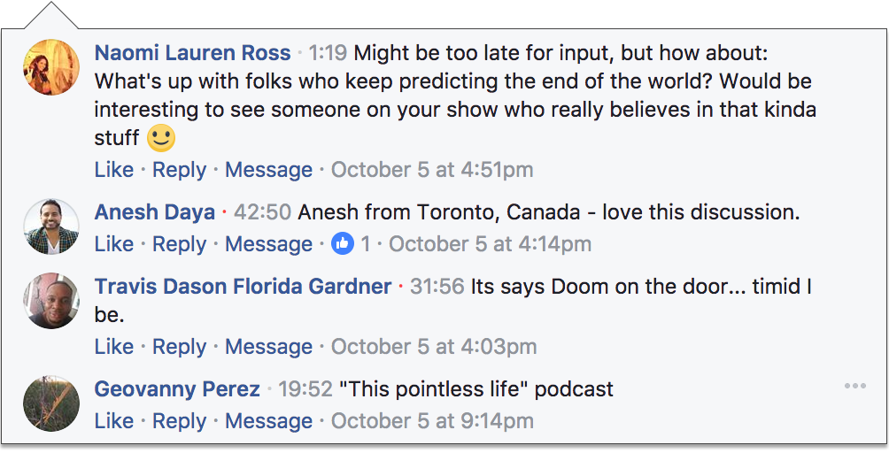 Mindfulness of Doom Facebook Comments