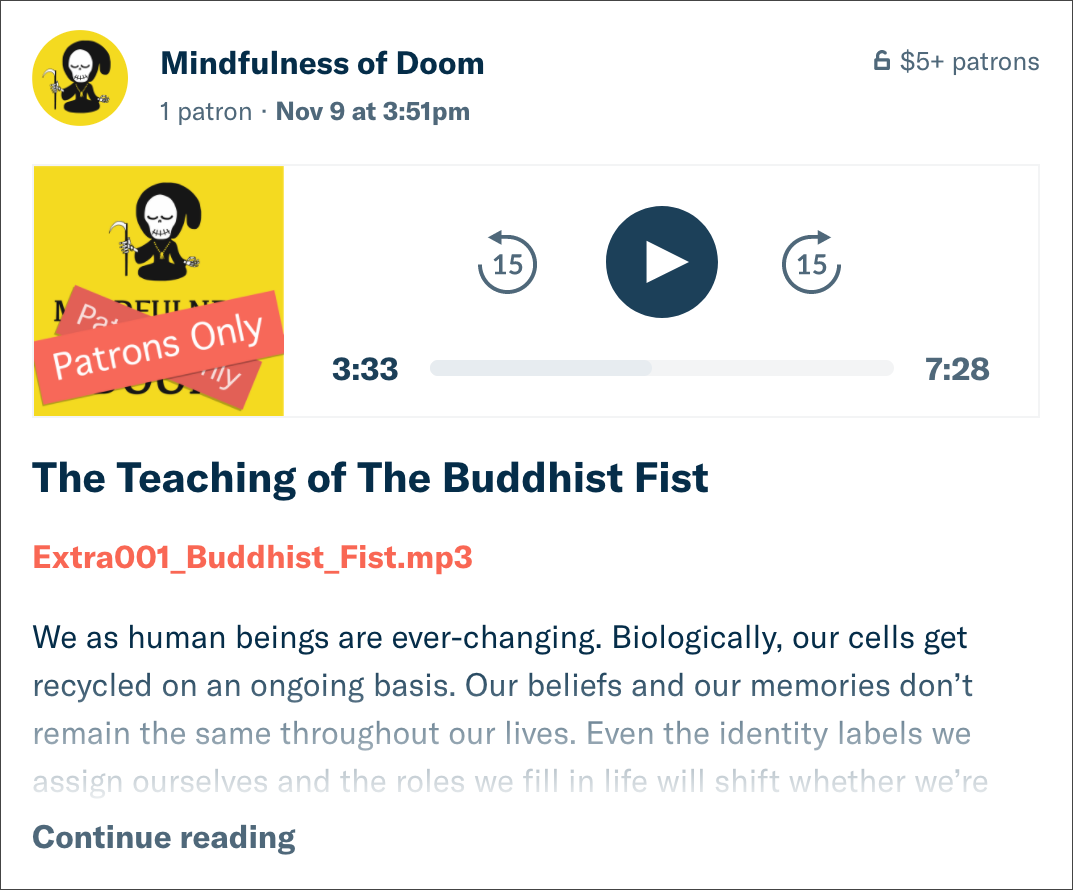 Mindfulness of Doom Patreon Post Sample